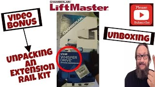 unboxing a chamberlain myq garage door opener with an extension rail kit