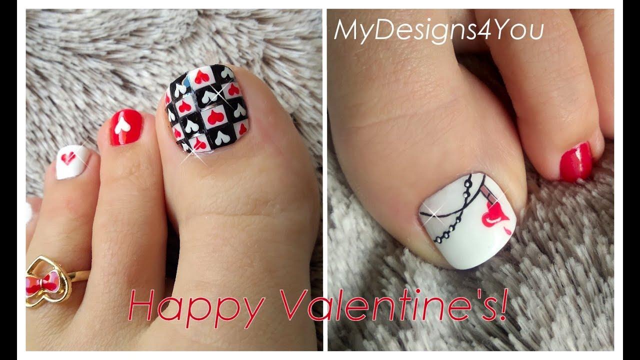 ♥ 2 Valentine's Day Nail Art Design Tutorials. (Handpainted Pedicures) ♥