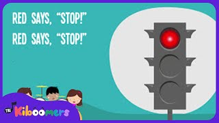 Red Says STOP   Kids Song  Traffic Safety   Nursery Rhymes   Lyrics   Lights  