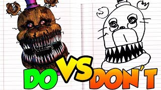 DOs & DON'Ts Drawing Five Nights At Freddy's Nightmare Fredbear In 1 Minute CHALLENGE!