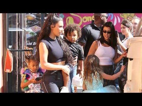 Kim Carries Growing Boy Saint After Kids' Fashion Show And Carousel Lunch