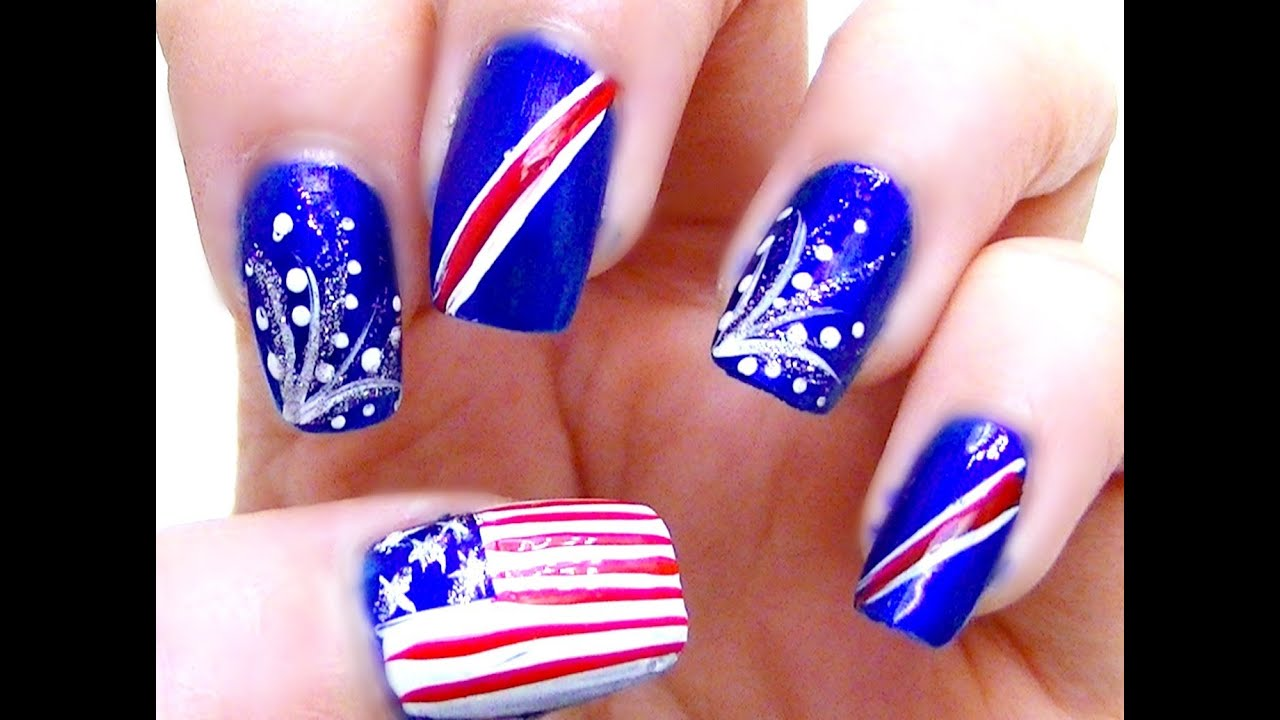 Independence Day - Fourth of July Nail Art Tutorial - YouTube