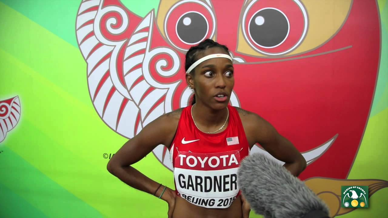 IAAF 2015 World Championships   English GARDNER After Her 2nd Place Finish  In The 100m   Heat 7   YouTube