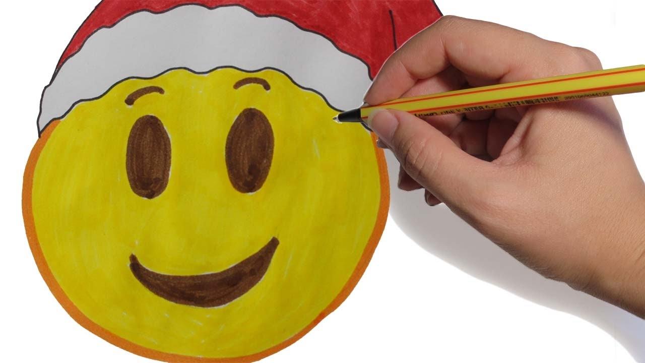 Como Dibujar Emoji Navidad Paso A Paso Facil A Color Para Ninos
