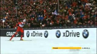 Petter Northug går sidelengs i mål! Ski VM Oslo 2011