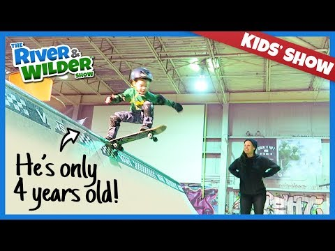 SKATEBOARDING: 4 YEAR OLD SKATER FIRST TIME ON HALFPIPE