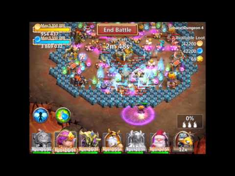 Castle Clash Insane Dungeon 4-4 With F2p Heroes