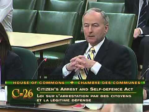 Justice Minister Rob Nicholson testifies on Bill C-26 (Citizen's Arrest and Self-Defence Act) (2012)