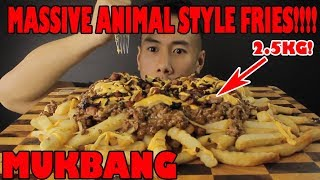 MUKBANG MASSIVE 2.5KG ANIMAL STYLE FRIES-CHEESY GOODNESS BACON BITS!!-MASSIVE BITES ONLY