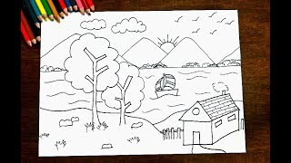 How To Draw Beautiful Scenery - With Lake, Mountain, Hut,Tree and Boat