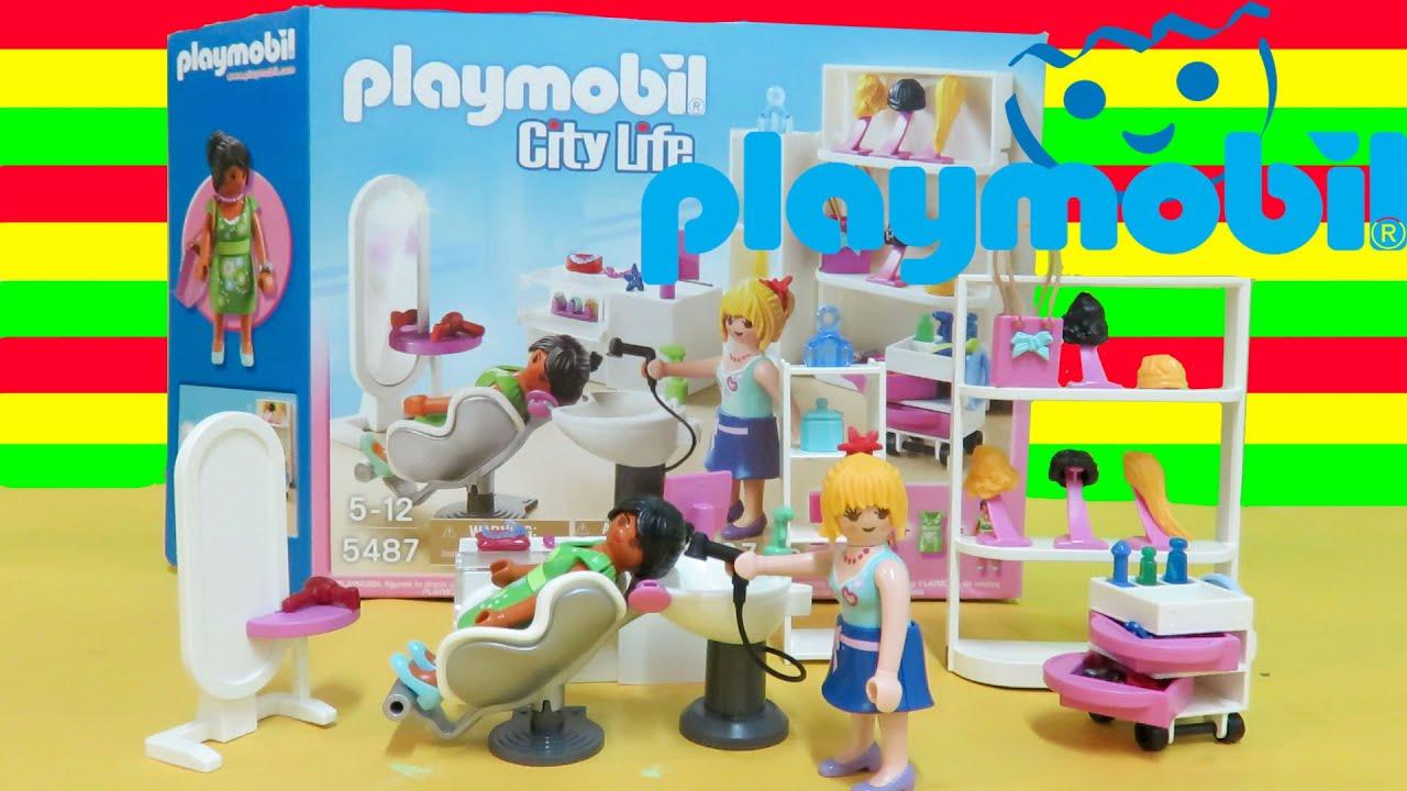 Playmobil 5487 city life beauty salon 67 pieces unboxing for Playmobil salon de coiffure