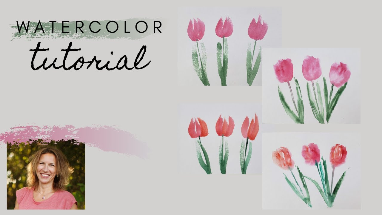 How to paint tulips with watercolor for beginners. Very simple and fun!