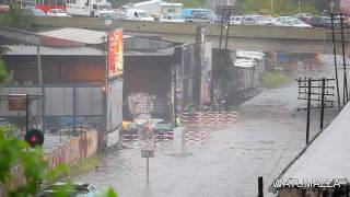 Train plows through flood water 4GIFs.com