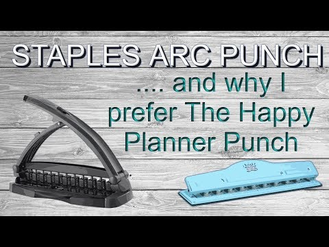Arc System Desktop Punch by Staples vs MAMBI hole punch to make Happy Planner Covers Use Comparison