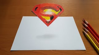 How to draw 3D floating Superman logo   LOGOS