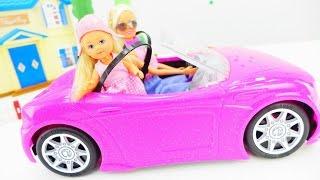 Кукла Барби и малышка Штеффи Еви. Видео для девочек: платья для барби, игрушки и барби машина.