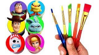 Toy Story 4 Drawing and Painting with Surprise Toys New Characters Forky Bo Peep Woody Bunny Ducky