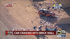Car smashes into brick wall in Apache Junction