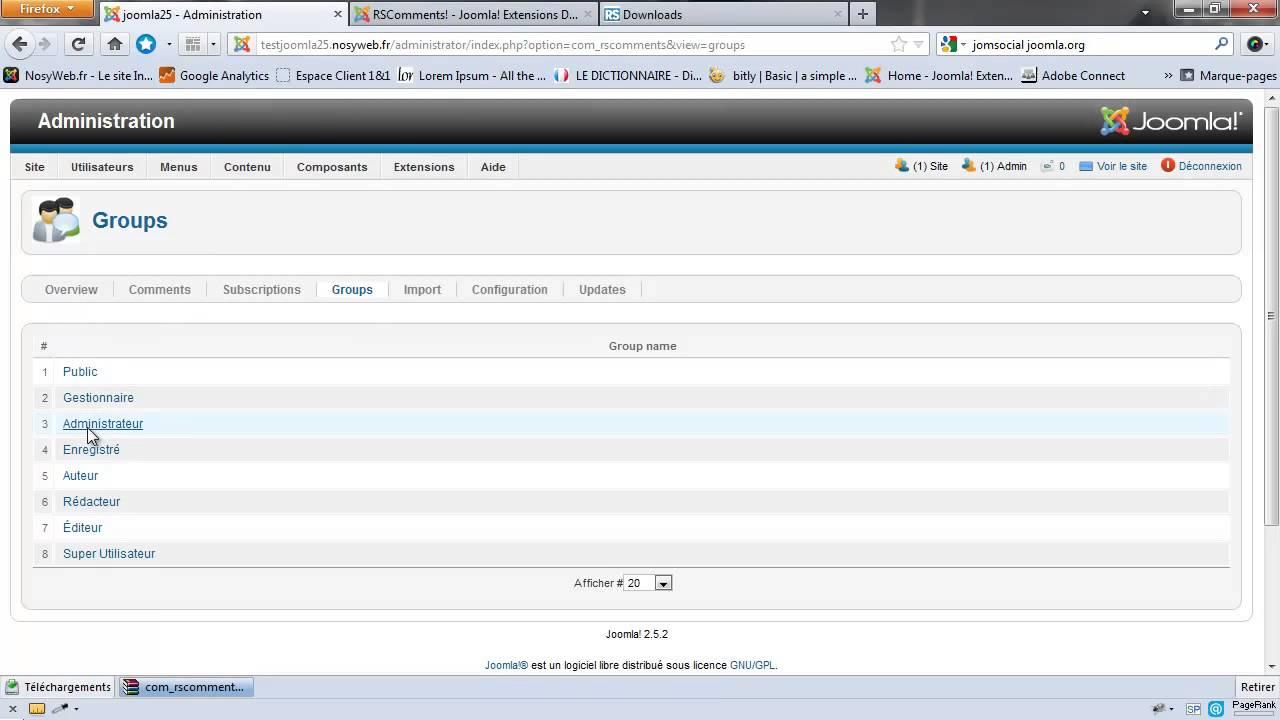 RScomments - Installation et configuration de commentaire pour joomla
