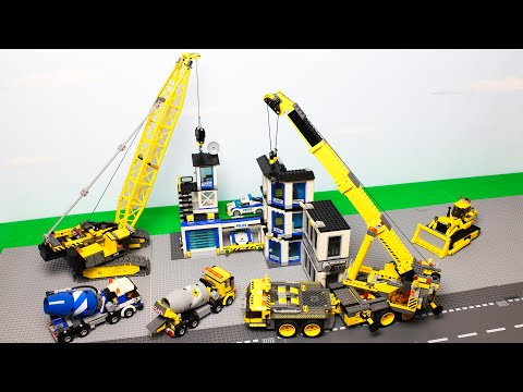 Lego Experimental Cars And Concrete Mixer, Tractor, Crane, Police Cars Toy Vehicles For Kids