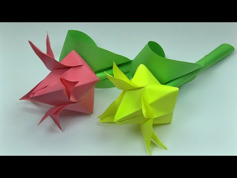 Tulips 2.0 (DIY paper flowers, origami flower art easy)