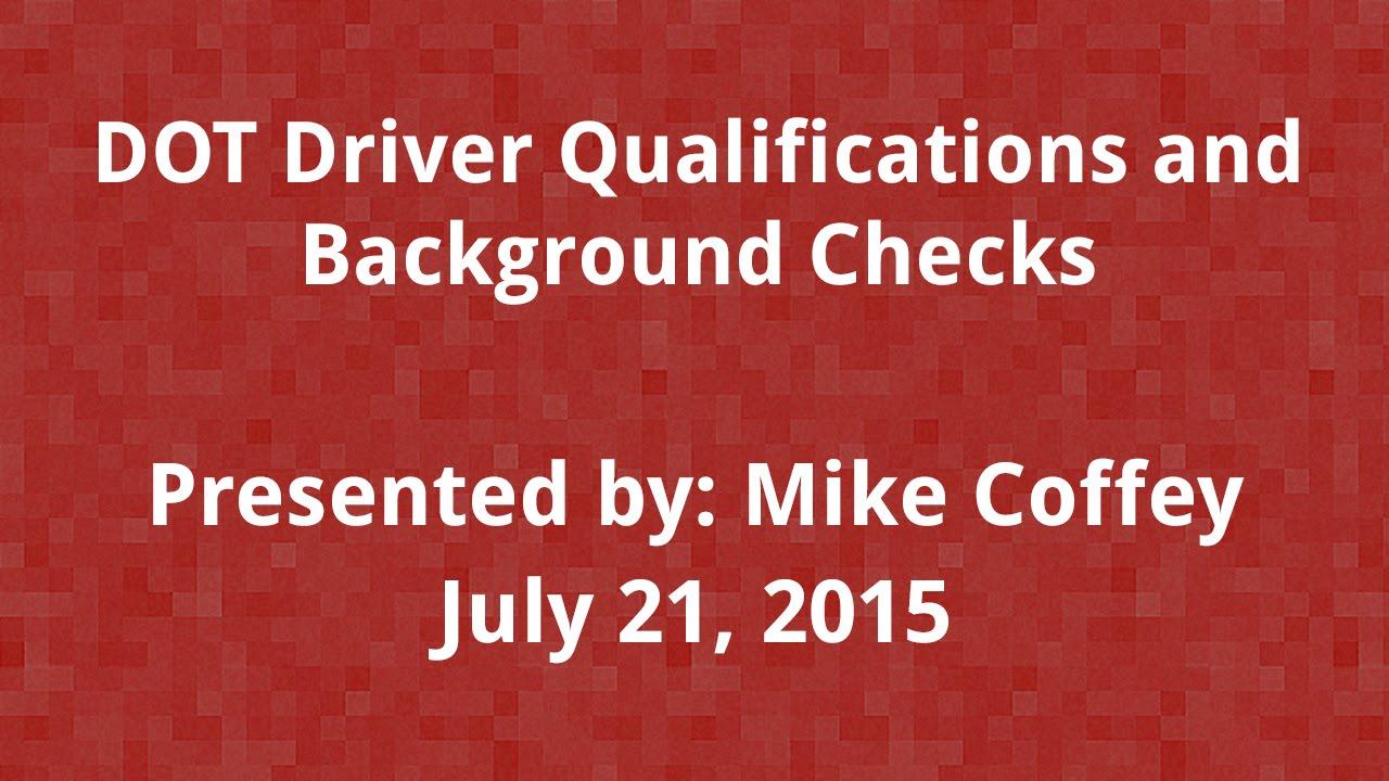 background checks on dot drivers