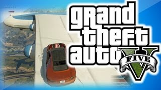 GTA 5 Online Funny Mods 2 - Driving a Car on a Flying Plane, Blimp Fun, and More!