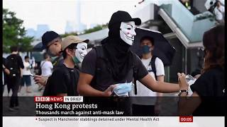 Thousands march in anti-mask law (Hong Kong) - BBC News - 13th October 2019