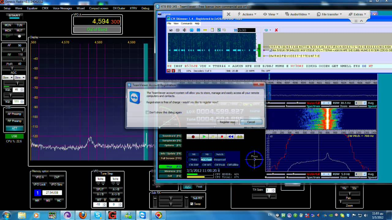Mysterious Number Station @ 4 594 Mhz recieved by USRP B100 and Genesis G59  SDR In cooperation
