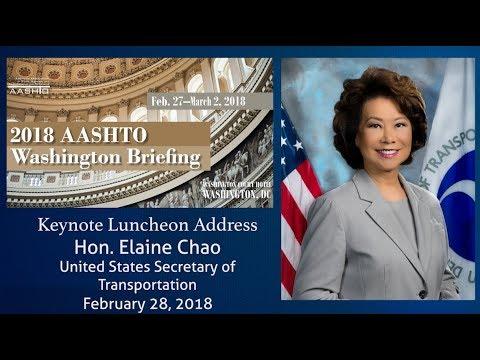 USDOT Secretary Elaine Chao Speaks at the AASHTO Washington Briefing
