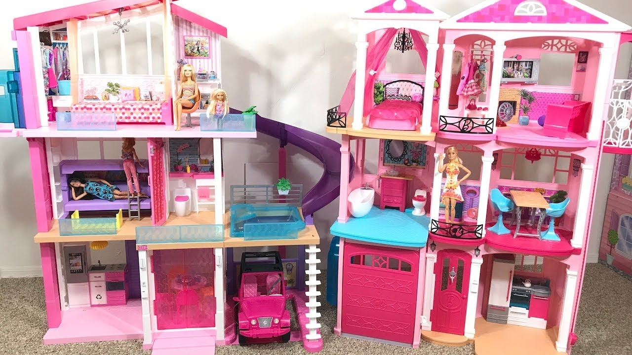 Barbie Dream House Pink Old House Vs New House Youtube