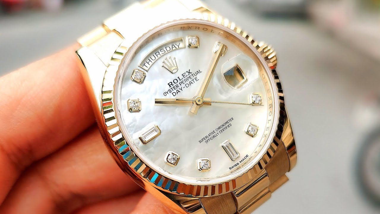 [Siêu Đẹp] Rolex Day Date President 36mm MOP Diamond Yellow Gold 118238   ICS Authentic