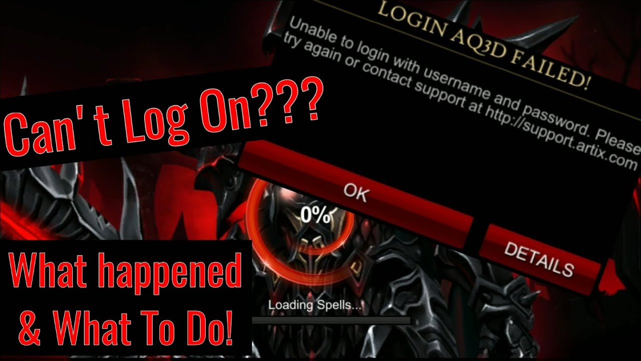 AQ3D Can't Log On Today? What Happened & What To Do! Various Log In Issues  11/20/2019!