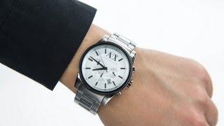 Armani Exchange Gents Smart Silver Tone Bracelet Chronograph Watch AX2058