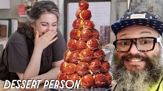 Claire Saffitz Teaches Amateur How To Make Croquembouche | Dessert Person
