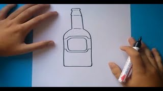 Como dibujar una botella paso a paso | How to draw a bottle