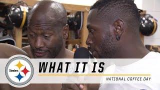 Steelers Antonio Brown & Rob Golden talk coffee in the locker room | What It Is
