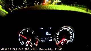 VW Golf Mk7 2.0 TDI 0-100 km/h (0-60 mph) /w and w/o Racechip