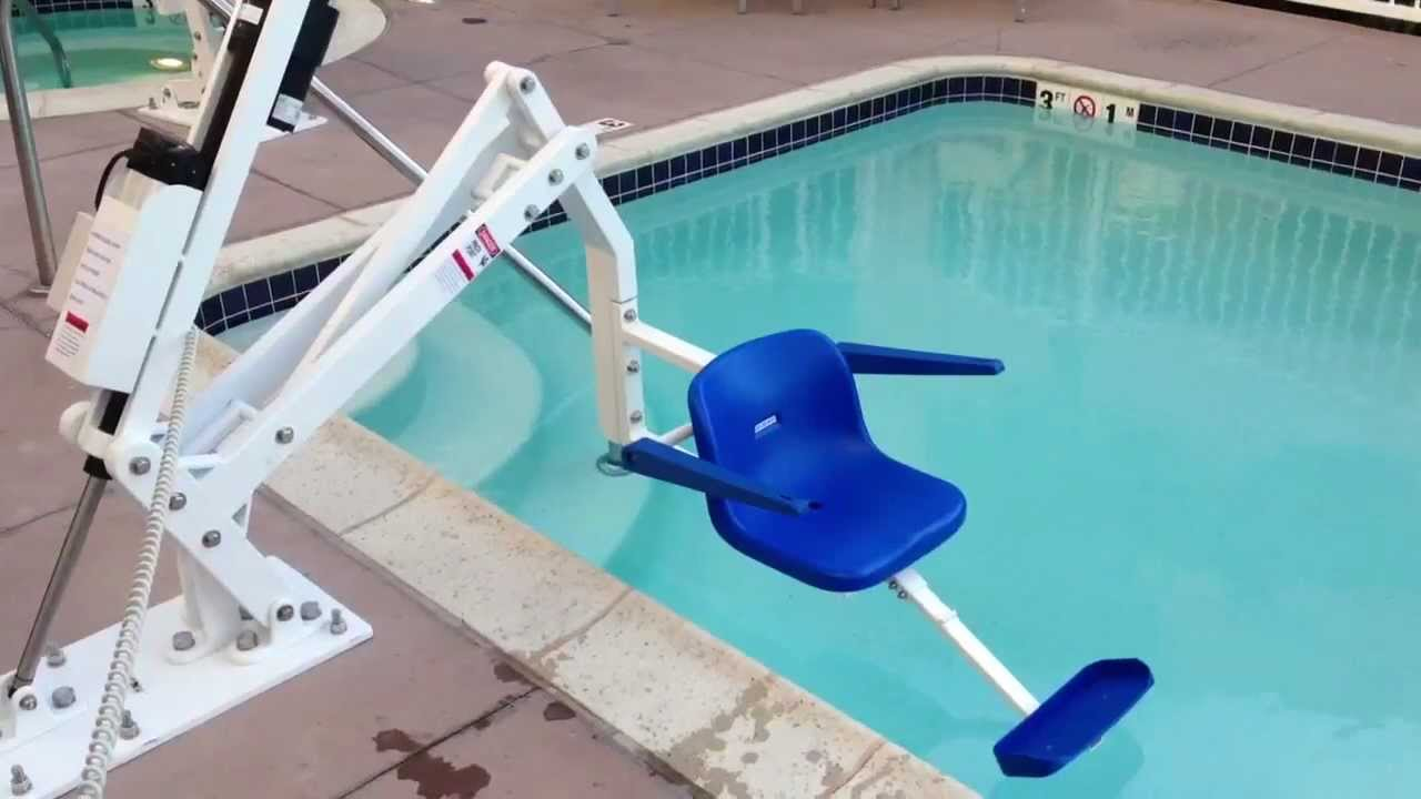 Ada pool lift demonstration youtube - Swimming pool wheelchair lift law ...