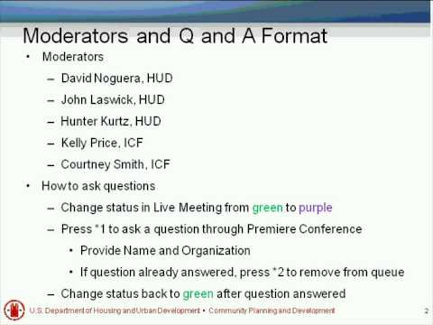 Open Forum Q&A Session with HUD Staff Webinar - 3/1/11
