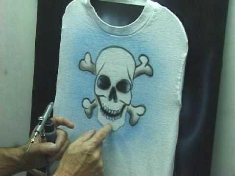 airbrush skull and cross bones simple t shirt design youtube. Black Bedroom Furniture Sets. Home Design Ideas