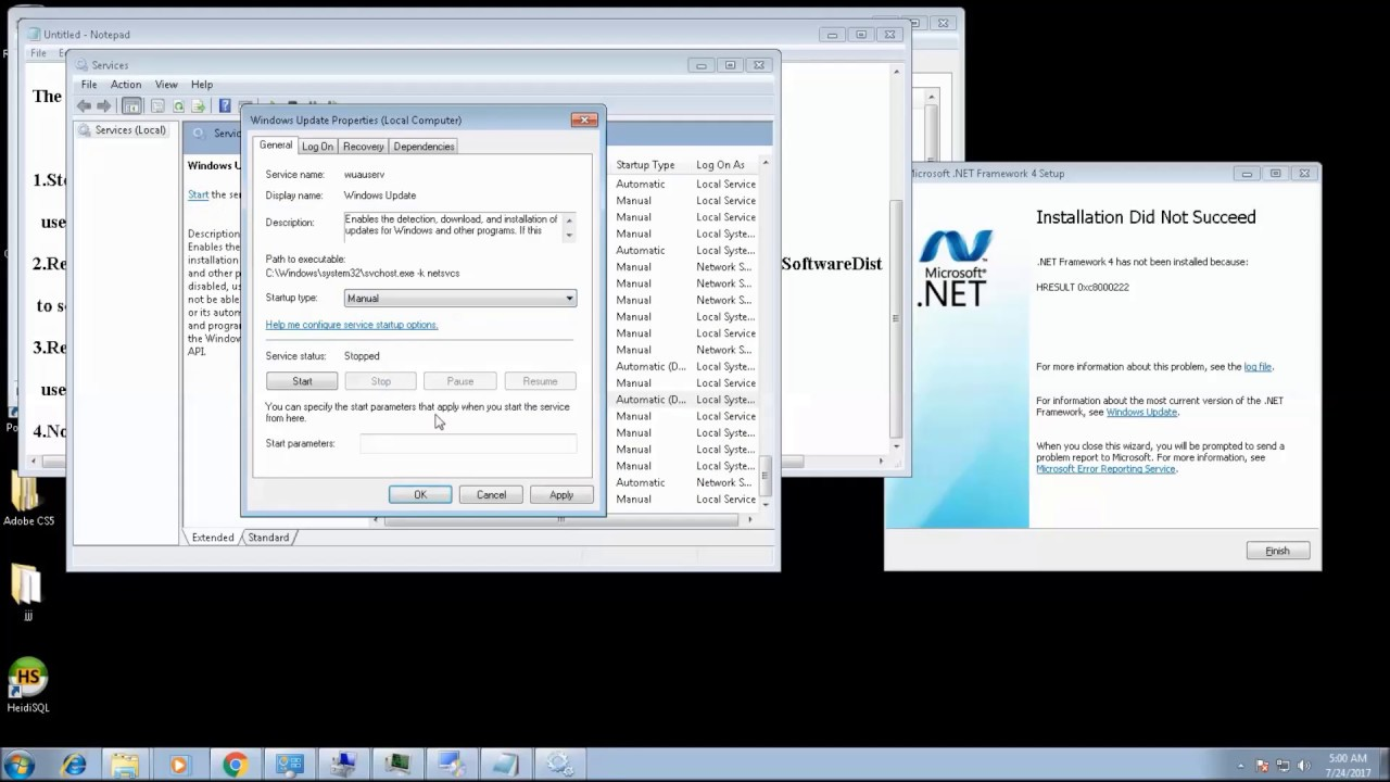 repair .NET Framework installation failure | .net has not been ...