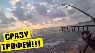 СРАЗУ ТРОФЕЙ!!! Морская рыбалка в Турции. Рокфишинг в Кемере 2019.