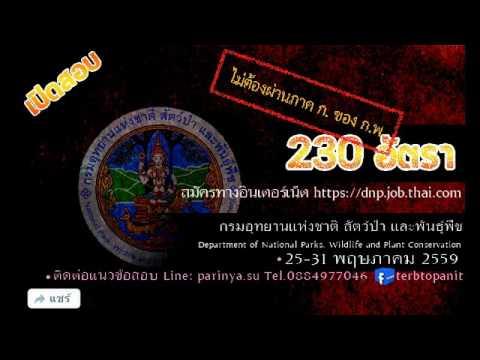 230อัตรา เปิดสอบกรมอุทยานแห่งชาติ สัตว์ป่า และพันธุ์พืช ปี2559