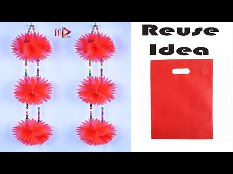 Reusable Shopping Bags Flowers Wall Hanging Tutorial - Best out of Carry Bag Wall Decoration Idea