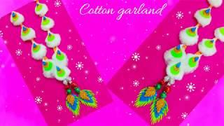 Cotton swab garland/How to make Cotton flower garland/mala for ganesh  jewellery/wool kanthi