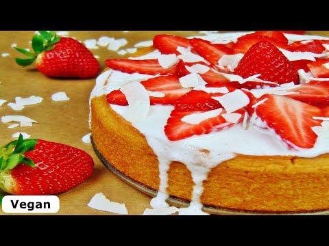 Rezept: Saftiger Kokoskuchen Mit Erdbeer-Kokos-Topping / Vegan / Kuchen Rezept / Sommer Rezept