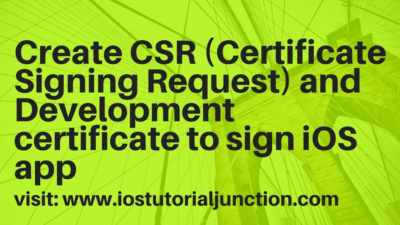 Create Certificates for iOS app using Apple developer portal