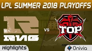 RNG vs TOP Highlights Game 1 LPL Summer Playoffs 2018 Royal Never Give Up vs Topsports Gaming by Oni