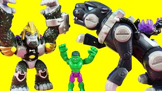 Power Paw Black Panther Robot Battles Thanos Family & Rescues Superhero Batman Dad Thomas Wayne